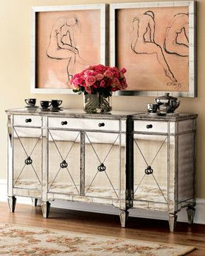 Superieur Amelie Mirrored Console Contemporary Buffets And Sideboards