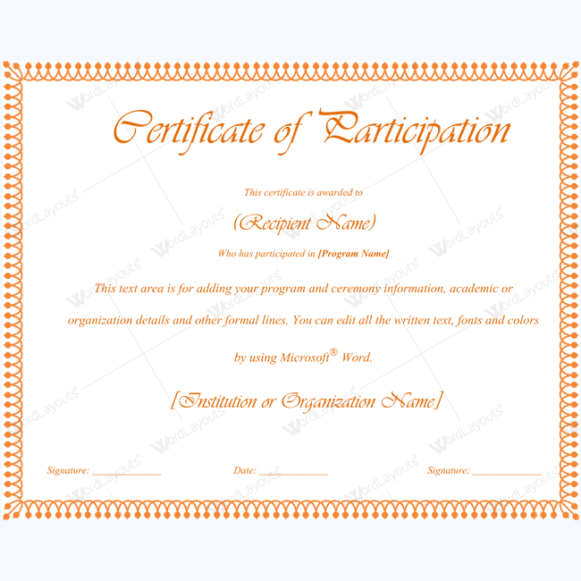 Certificate For Participation Of Child Event Template #certificate  #certificatetemplate #participationtemplate #participationcertificate #