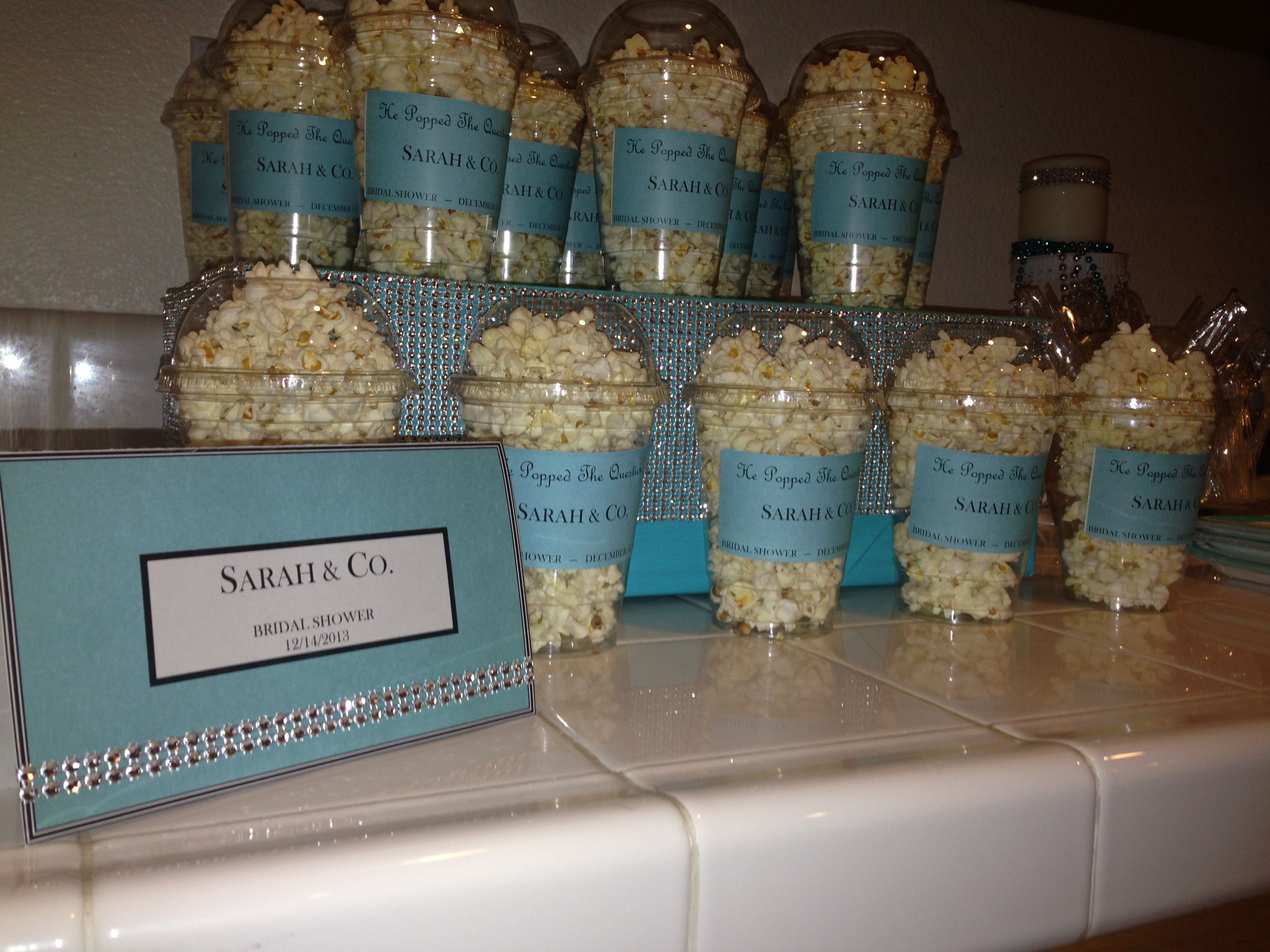 He Popped The Question Bridal Shower Popcorn Tiffany Co Themed