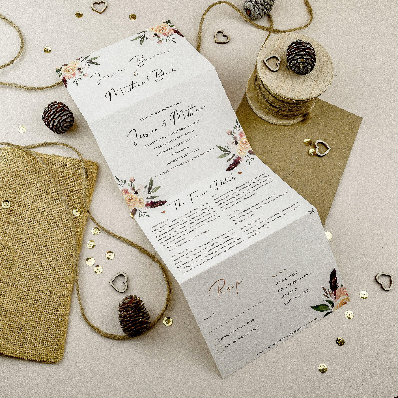 All In One Wedding Invitation Wedding Invites Floral Wedding Etsy In 2020 Floral Wedding Invitations Wedding Invitations Folded Wedding Invitation