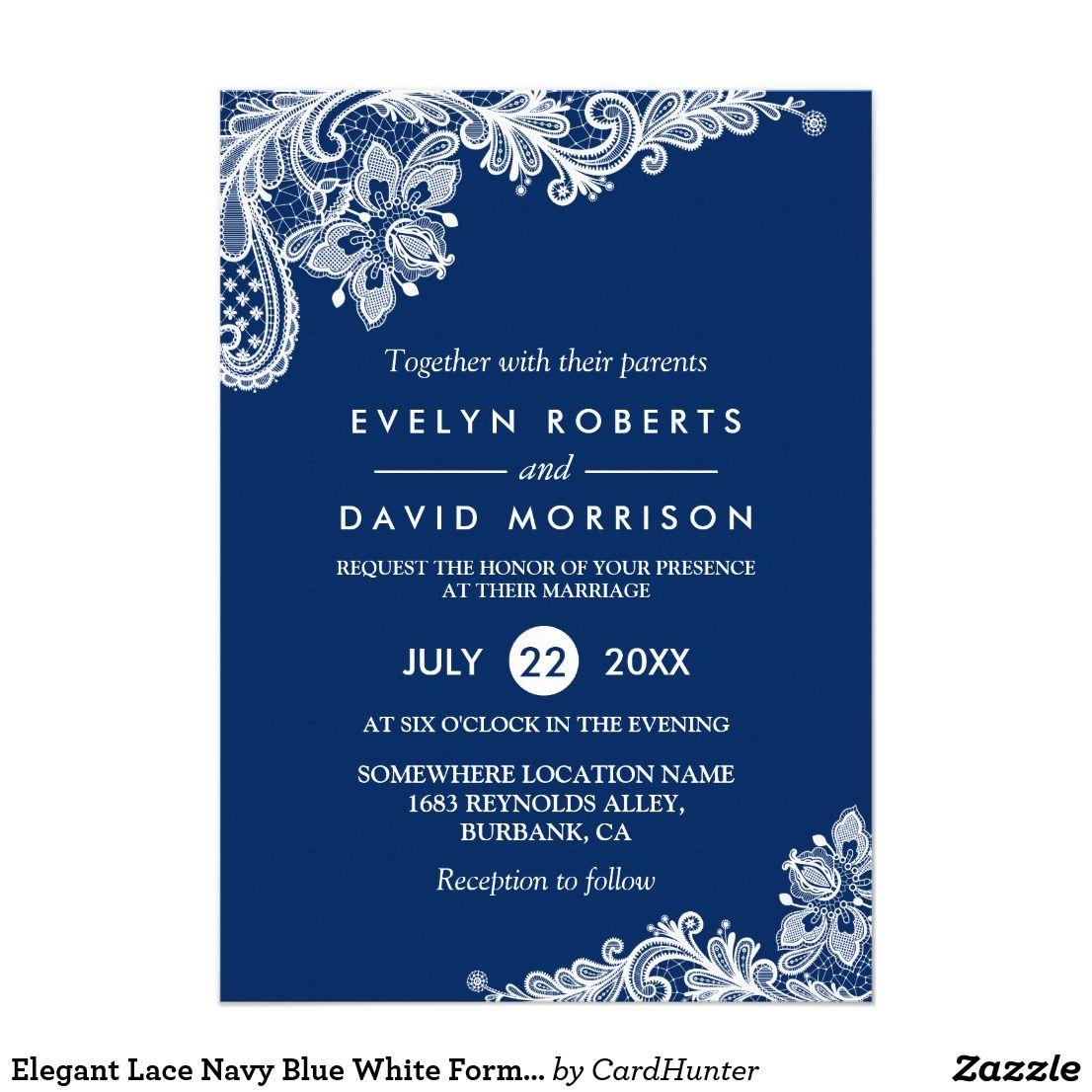 Elegant lace navy blue white formal wedding card formal wedding elegant lace navy blue white formal wedding card stopboris Gallery