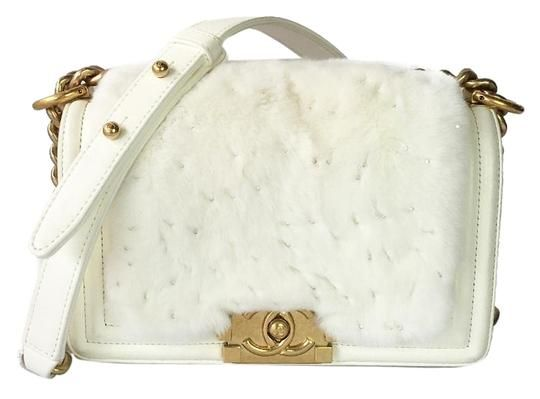 eaf66833bf4b Chanel Classic Flap Boy Le Small with   Date Code 21xxxxxx White Lambskin    Fur   Crystal Shoulder Bag - Tradesy (I guess buying fur second  hand recycling ...