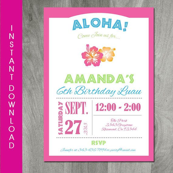 INSTANT DOWNLOAD Editable Printable by CharliesPrintables on Etsy – Hawaiian Party Invitations Printable