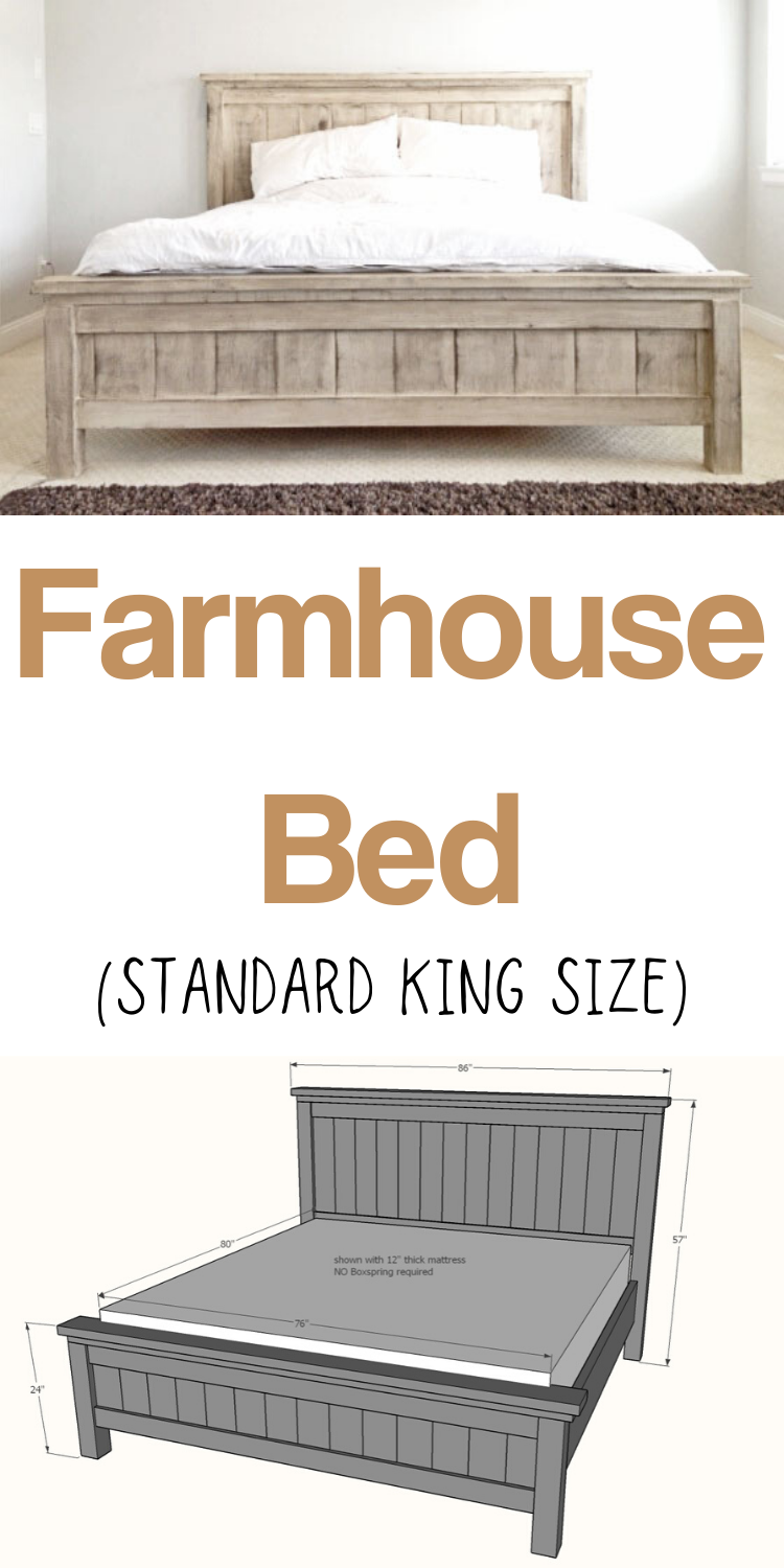 This stunning (and extra sturdy!) Farmhouse King Bed frame costs just a fraction to build vs buy.  It's made of solid wood and you won't need a ton of tools to whip it out.  You'll love the step by step diagrams, shopping list and cut list. #anawhite #diy #diyfurniture #bed #farmhouse #diybedbuild