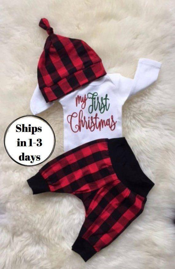 327fed36b My First Christmas outfit boy, baby boy first Christmas outfit, My 1st  Christmas, baby girl first ch