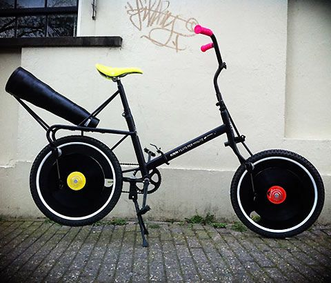 A prototype bicycle that allows you to play records on its wheels.  Created by Dutch designers Merel Sloother, Liat Azulay and Pieter Frank de Jong.