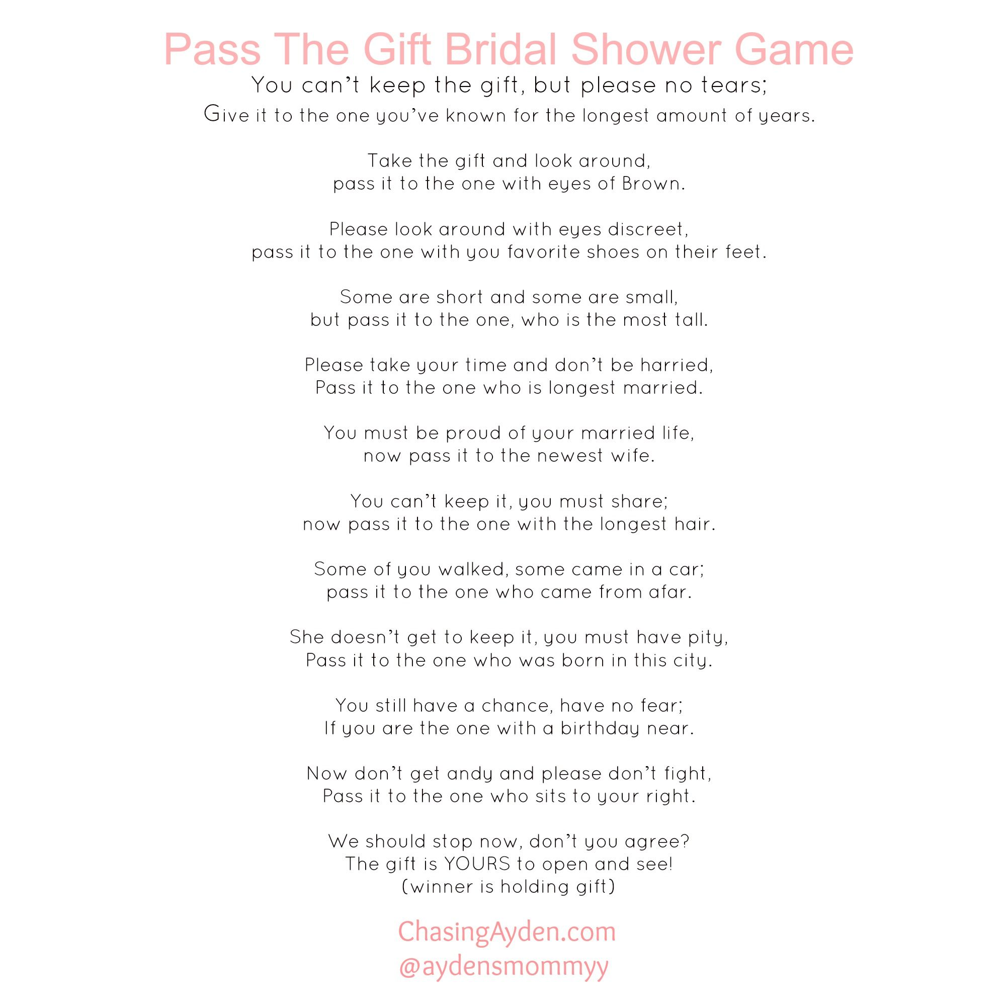 Delightful Baby Shower Pass The Parcel Story Part - 10: Pass The Gift Bridal Shower Game Free Printable  Http:/chasingayden.com/ashleys