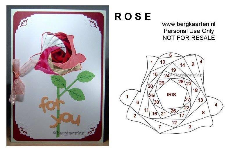 Открытка роза схема, своими руками технике