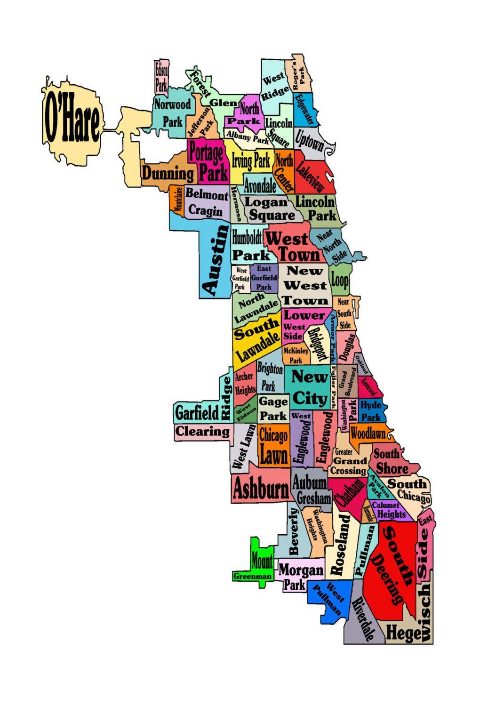 Chicago Neighborhoods Map Print Poster Neightborhoods Chicago - Chicago map artwork