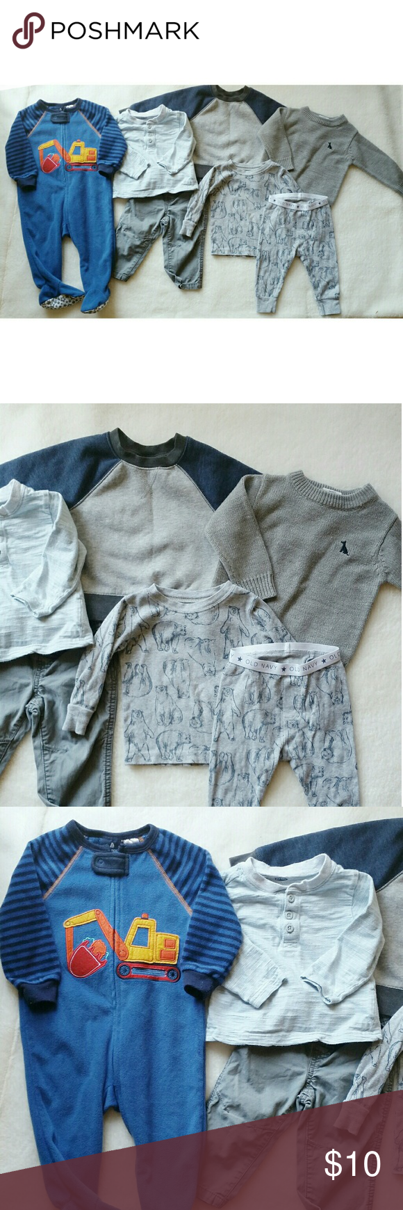 6-12 months Bundle Baby boy bundle. Sizes 6-12 months. I'm adding in an extra set of pajamas and sweat pants for free. The pajamas have been worn several times and unfortunately the top has some stains. The sweat pants have wash wear. Also, two of the tops have minor stains as well. I have not tried treating them so it's possible they can be removed. Brands such as Old Navy, Carter's, Cat & Jack, etc. Perfect for fall and winter! Normal wear.   ❌firm price Old Navy Matching Sets