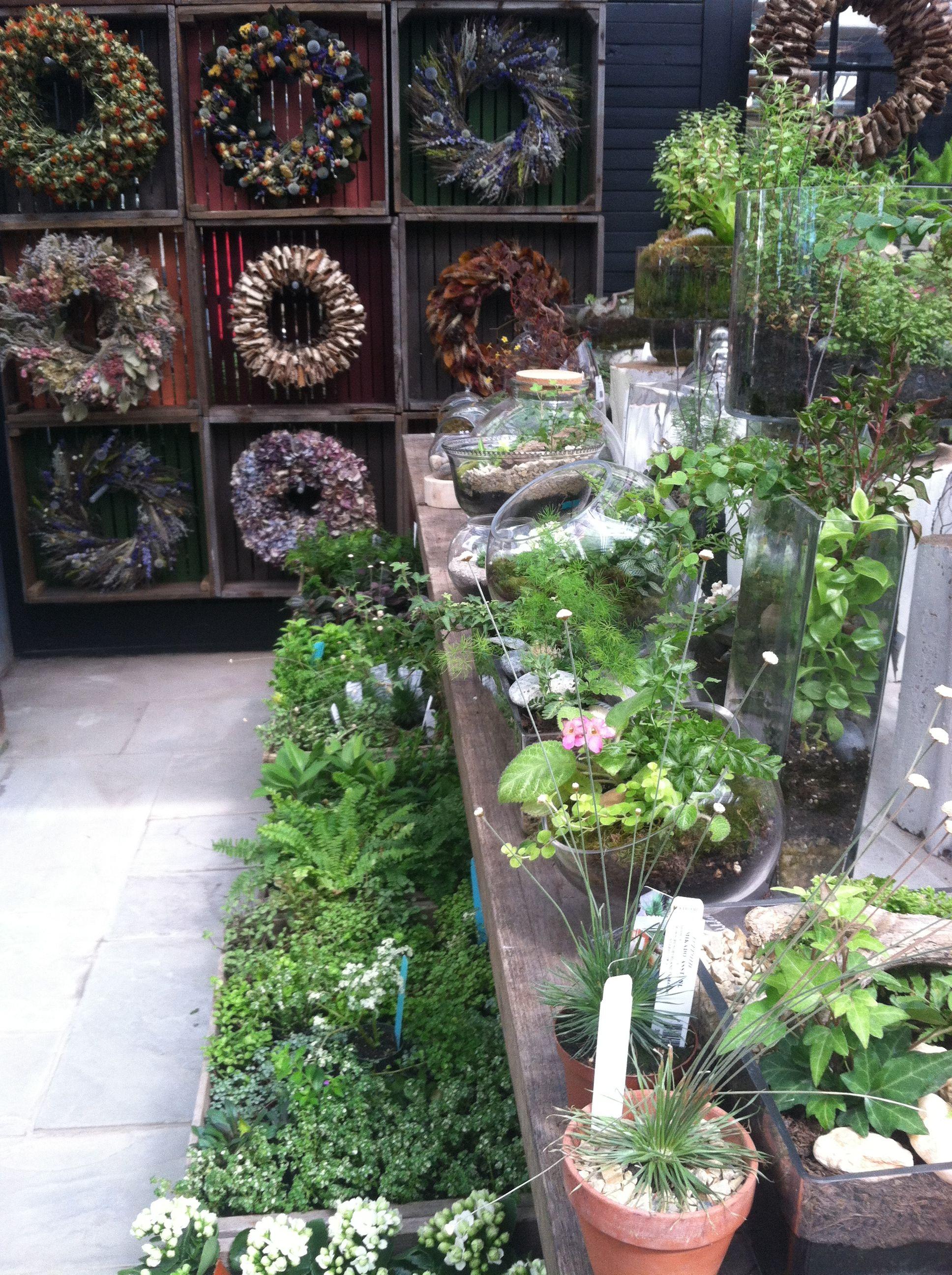 Pretty wreaths and displays Garden center displays