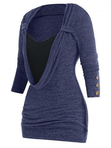 Photo of Plus Size Button Embellished Lace Panel Heathered Faux Twinset T-shirt