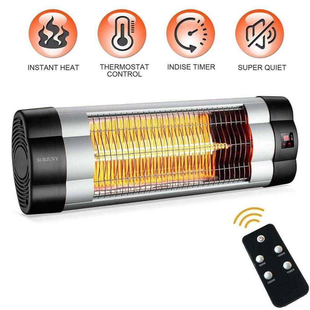 Electric Wall Mounted Indoor Outdoor Infrared Patio Heater With Lcd Display Surjuny Patio Heater Wall Mounted Heater Infrared Heater