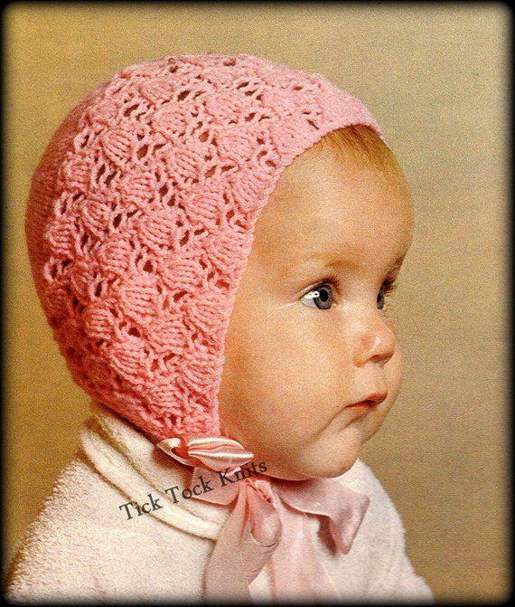 1570e48c8 No.349 Baby Bonnet Knitting Pattern PDF Vintage - Tulip Lace Bonnet ...