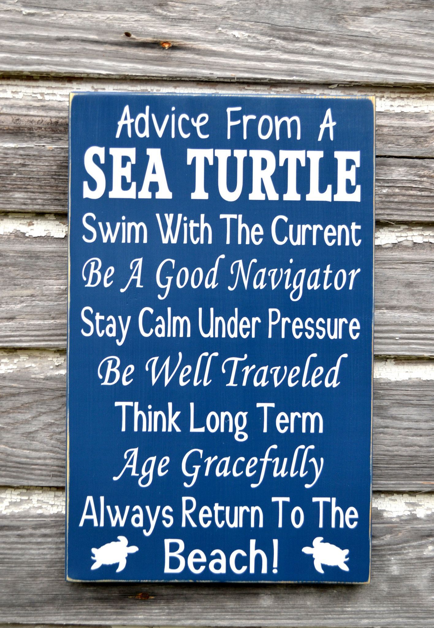 Bathroom wall art sea - Beach Decor Advice From A Sea Turtle Wooden Beach Sign Handpainted Nautical Coastal Quote Word Wall Art