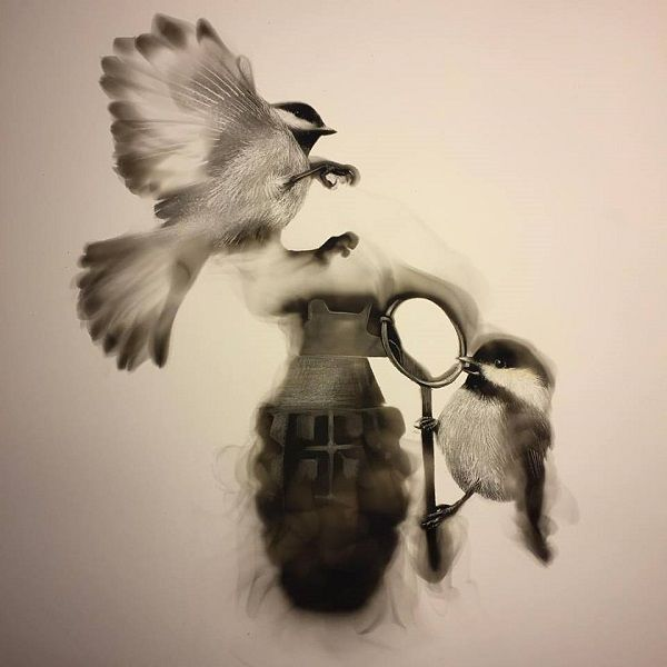 Artist Uses Soot From A Candle's Flame To Create Portraits, Images Of Birds - DesignTAXI.com