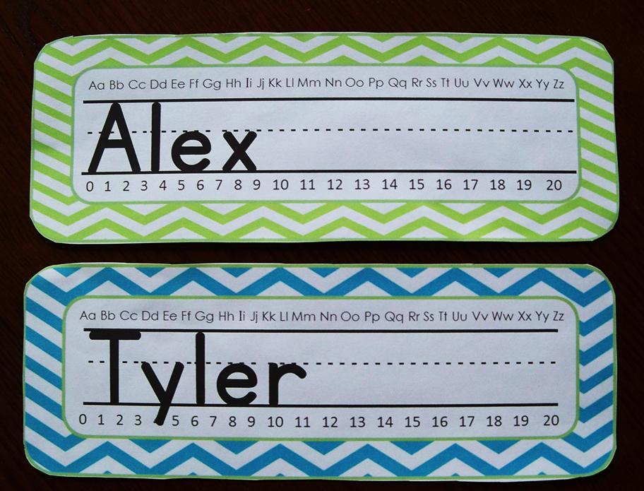 Student Name Plates: Chevron Name Plates (Editable)