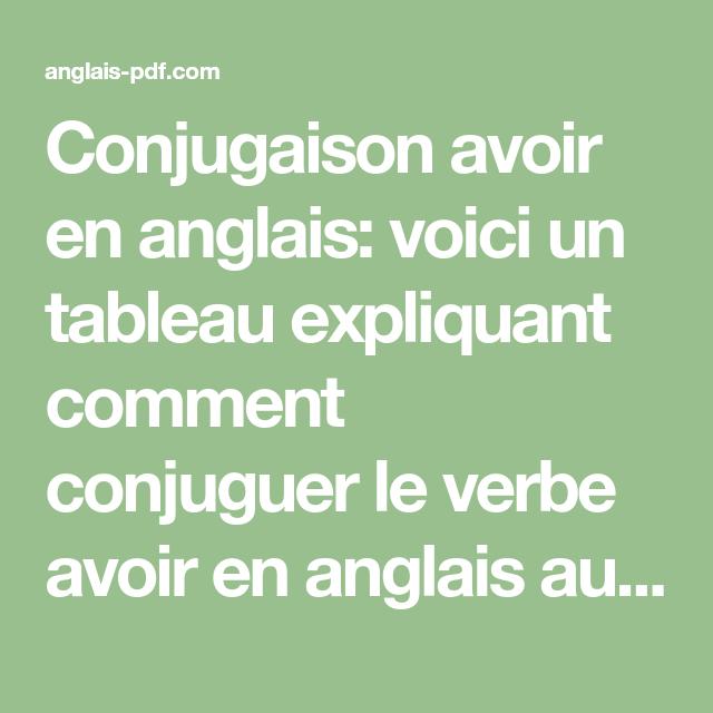 Comment Conjuguer Le Verbe Avoir En Espagnol