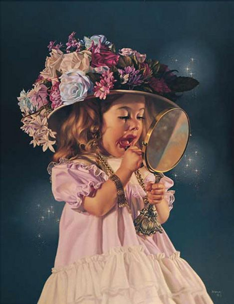 *Jessica's Bonnet....Bob Byerley  What little girl has not done this or wanted to.