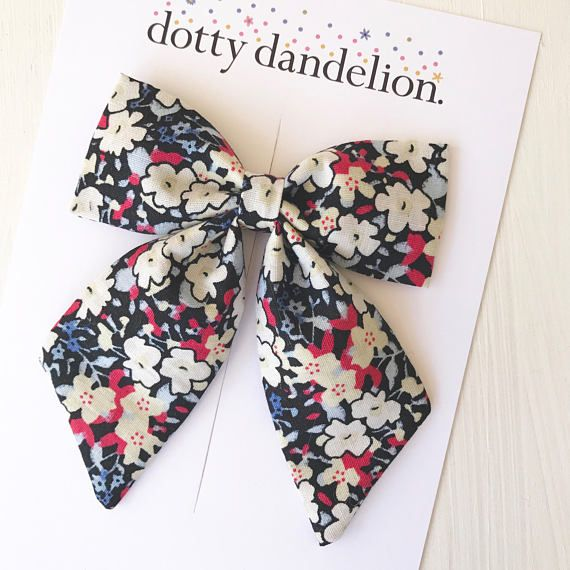Floral Sailor Bow Girls Hair Clip Sailor Bows Floral Hair Bow Fabric Hair Bow Girls Hair Bows Floral Hair Clip