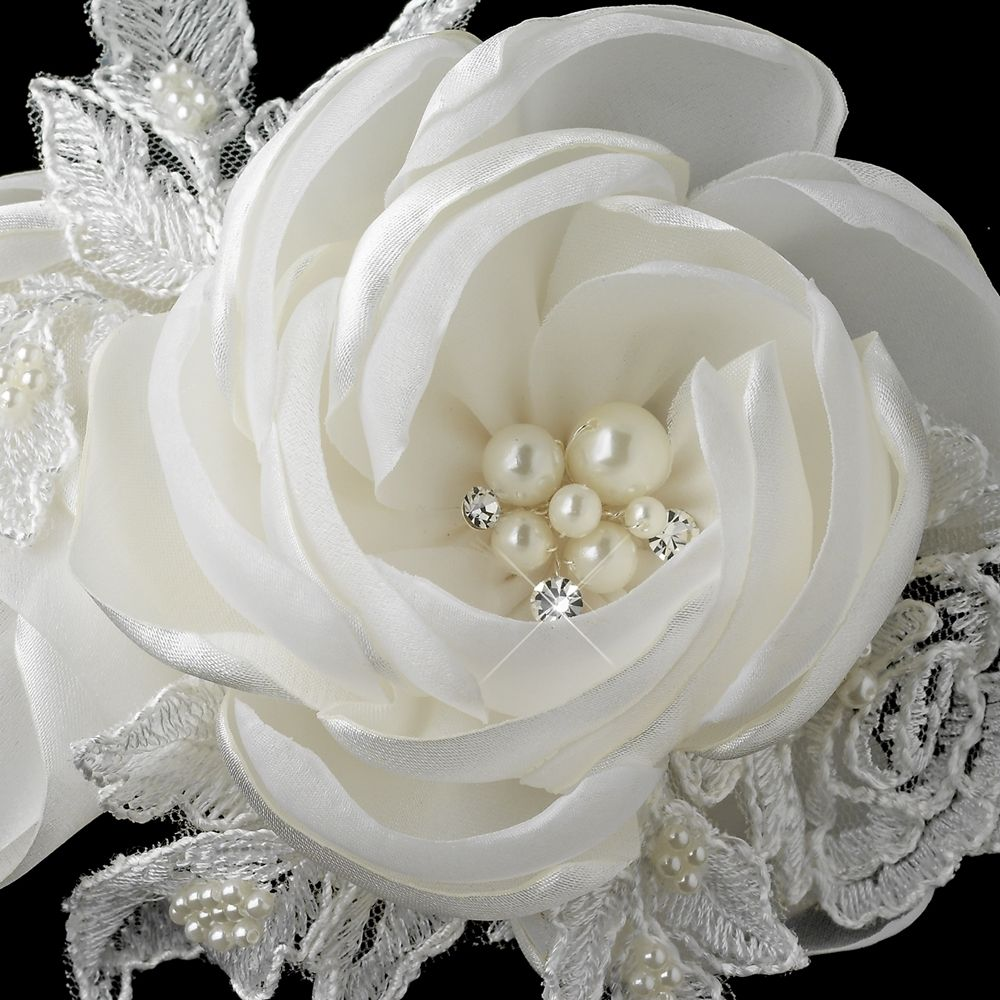 Satin Rose and Lace Hair Clip with Pearl and Rhinestone