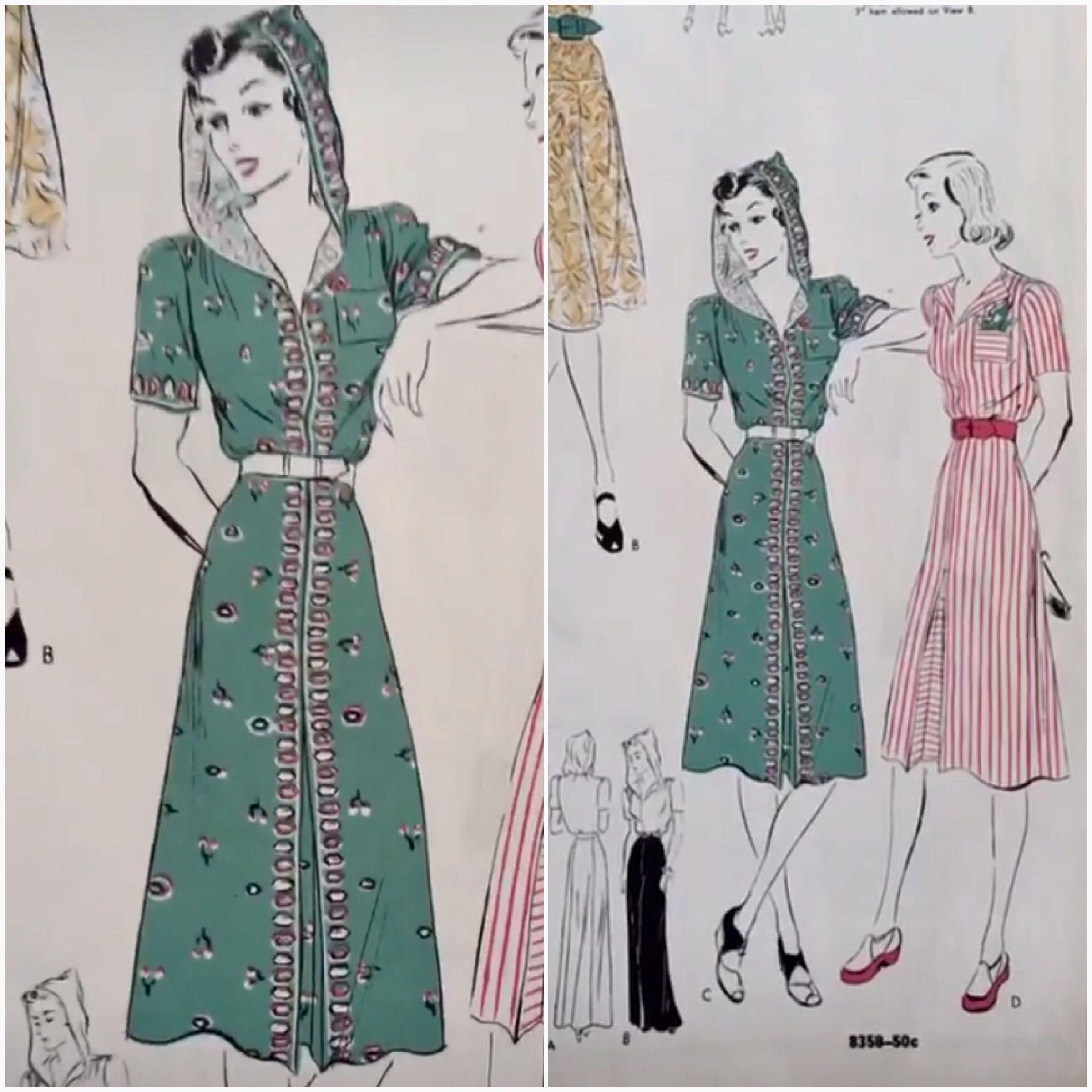 Hooded Dress Vogue Patterns Catalogue September 1939 Vintage Fashion 1930s 1940s Vintage Fashion 1930s 1940s Dresses Vogue Dress