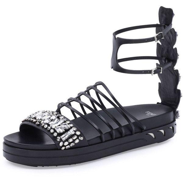 e82a95f498d57 Fendi Crystal Leather Cage Sandal ( 1