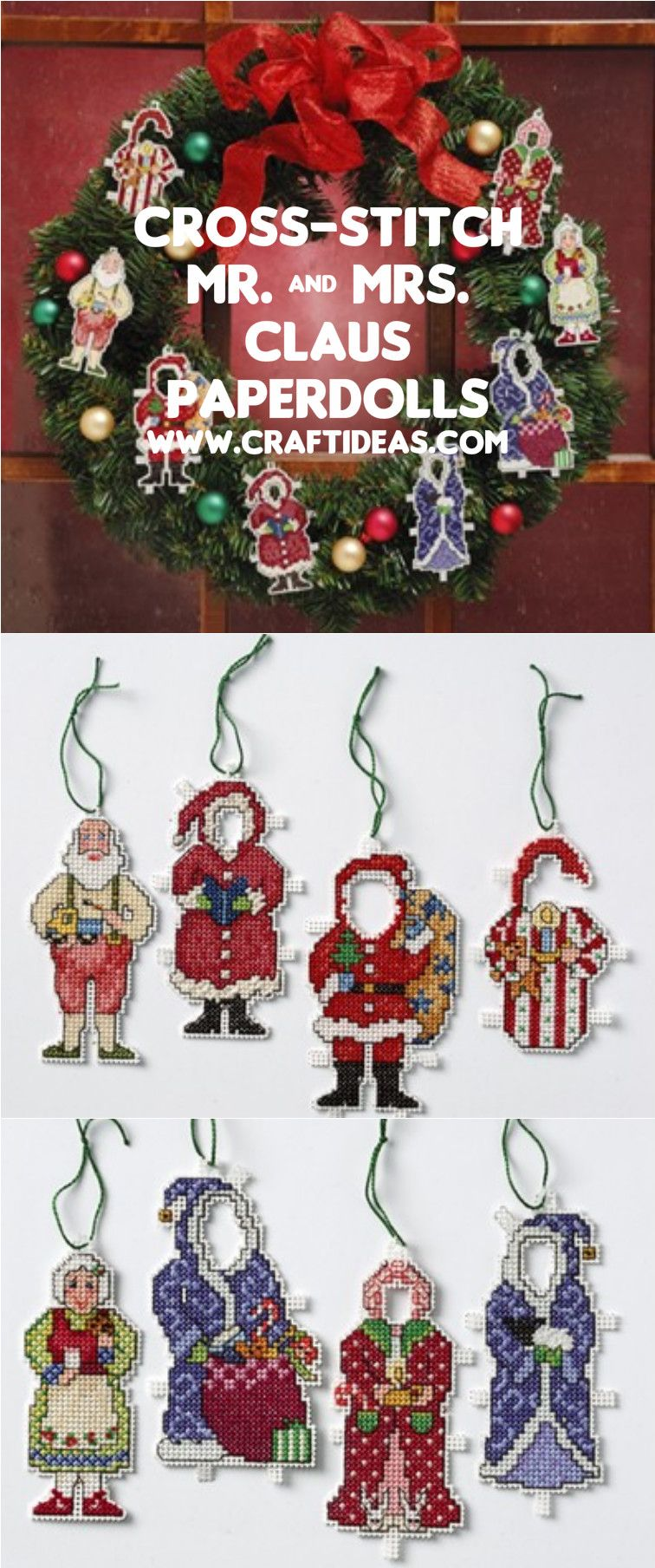 Mr and mrs claus ornaments - Cross Stitch Mr And Mrs Claus With Our Step By Step Instructions And