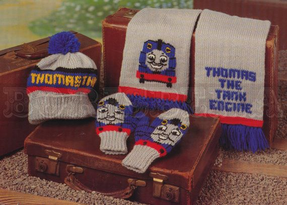 Vintage Thomas The Tank Engine Hat Scarf Mittens Knitting Pattern