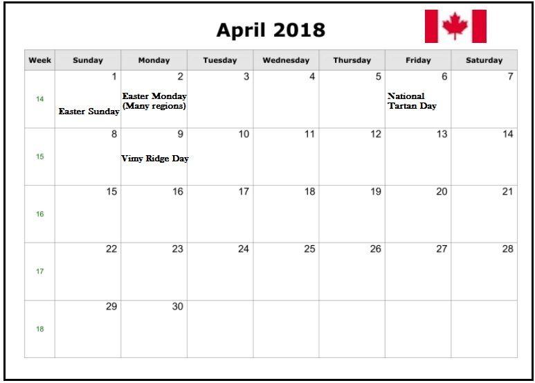April 2018 Canada Holiday Calendar Holiday Calendar 2018