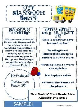 Customizable Monthly Classroom Newsletters 12 In All