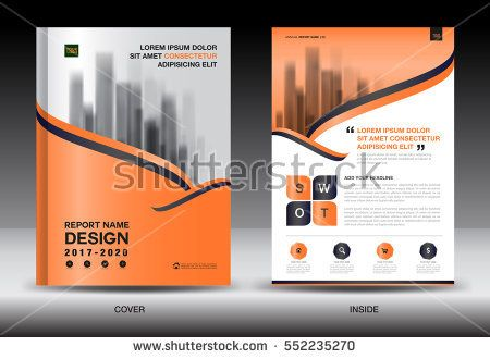 Annual report brochure flyer template, Orange cover design - business annual report template