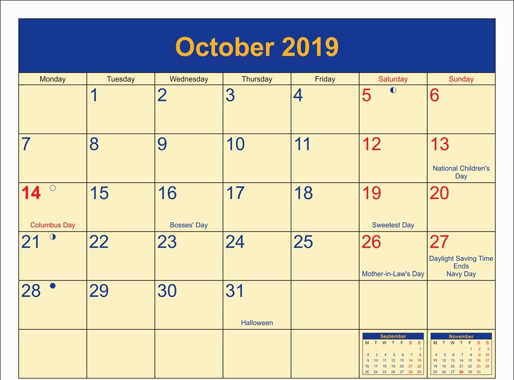October 2019 Calendar With Holidays Printable Template Holiday