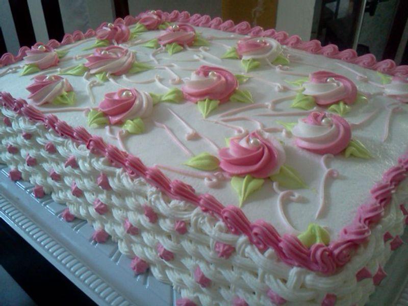 Populares Resultado de imagem para bolo decorado com chantilly retangular  EV95