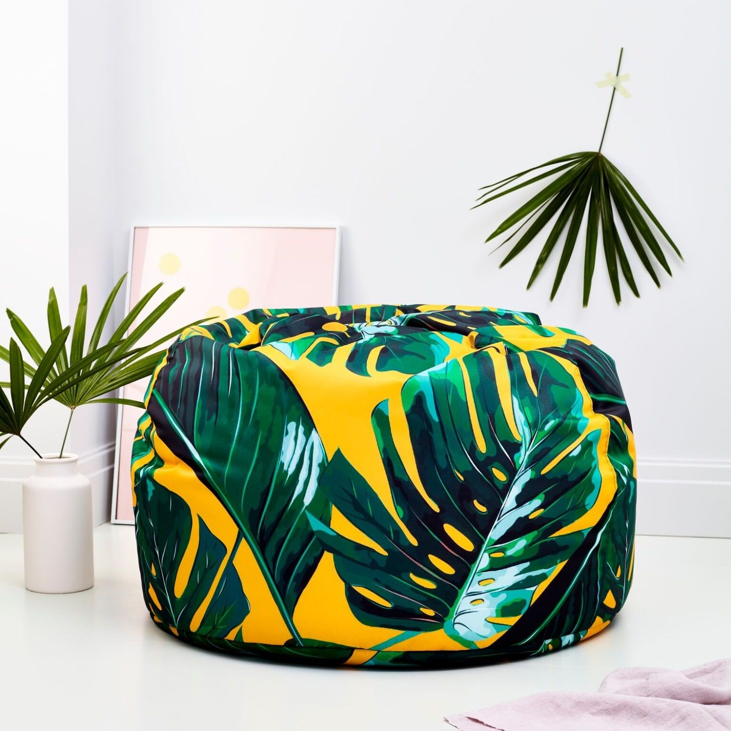 Fantastic Tillyanna Bright Palm Leaves Adult Bean Bag In 2019 Caraccident5 Cool Chair Designs And Ideas Caraccident5Info