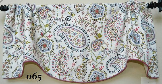 Paisley Dance Spring-Window Valance / Lined and Corded  Rod