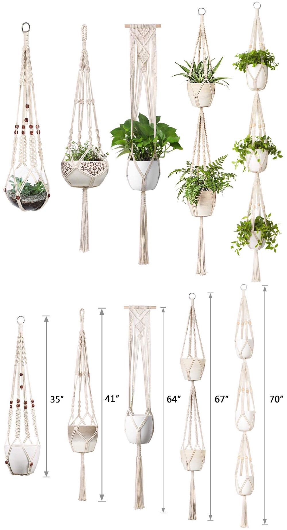 "4 Pack Macrame Plant Hangers Set, Hanging Rope Planter for Indoor Flowers,Set of 4 Plant Macrame Hangers, Plant Hanger Macrame is part of Diy macrame plant hanger, Macrame plant hangers, Macrame plant hanger patterns, Macrame plant holder, Plant hanger, Diy plant hanger - 67"" ▪️Pot • Fit most shapes & sizes of pot, ideal for 6""8"" in diameter   ▪️Note • Plants & pots are not included ▪️Occasion • Balcony,livingroom,pathways,window,hallway,office ▪️Interesting way to display your lovely plants ▪️Keep plants off the ground & away from your pet's reach ▪️Bring boho chic vibe & vintage 1970s home decor element to your home ▪️Versatile style save more space ▪️Easy to hang up with hooks ▪️Create greenery home and build urban jungle ▪️Allow to show plants wherever you want ▪️Perfect gifts for plant ladies & plant lovers Check out now to get these gorgeous macrame plant hangers for your lovely plants ! 12 days shipped out after purchased I think communication is a great tool, please feel free to contact me with any inquiries,I'd be happy to address any issues ! macrame plant hanger,hanging plant indoor, macrame planter, boho plant holder,macrame plant holder,plant hanger,rope plant holder, indoor planter,hanging plant holder,hanging plant pot,plant pot hanger,hanging indoor planter,macrame hanging pot, rope plant hanger,gardening planter,boho home decor, macrame wall hanging, macrame wall art,greenery & gardening,plant accessories"
