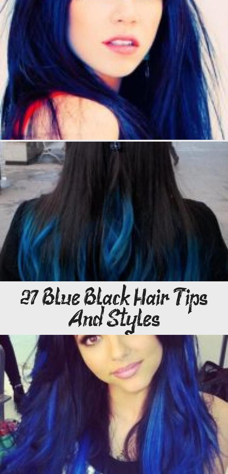 27 Blue Black Hair Tips And Styles   Black hair tips Dyed ...