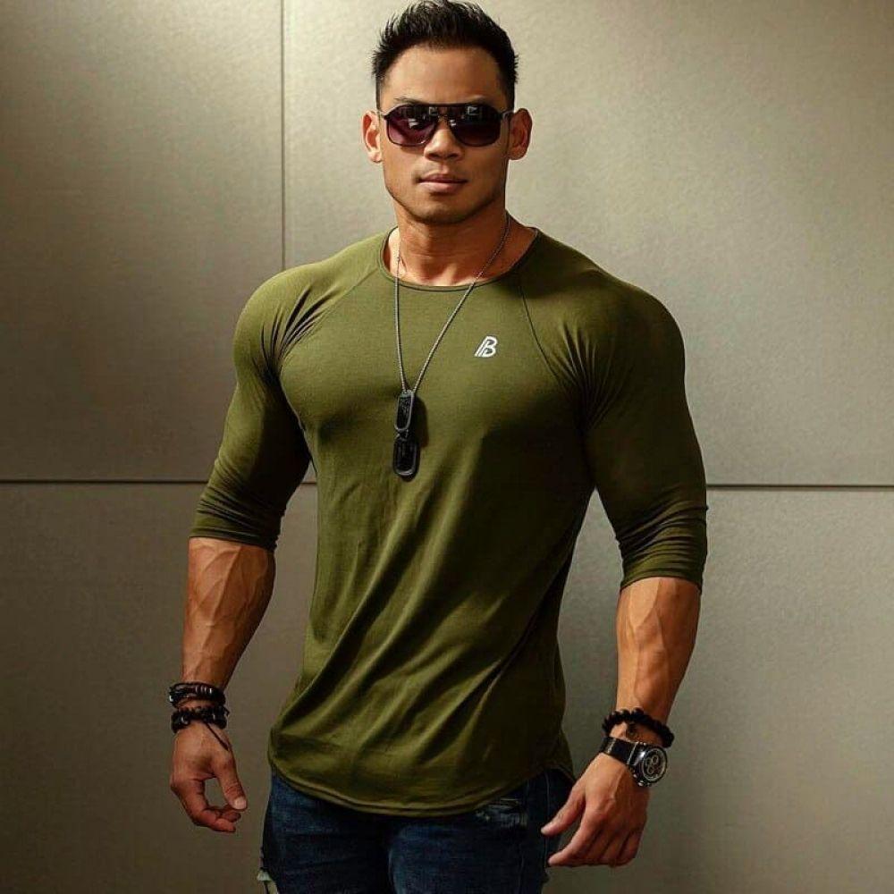 Cotton Long Sleeve Men's Gym & Workout Compression T Shirt