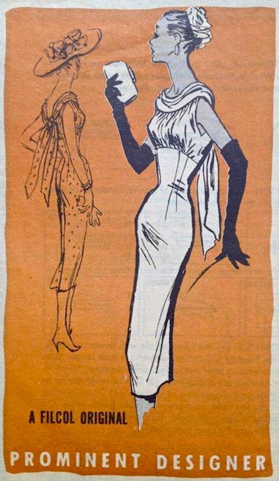 Details About 50s Vtg Prominent Designer Bombshell Shirred Wiggle