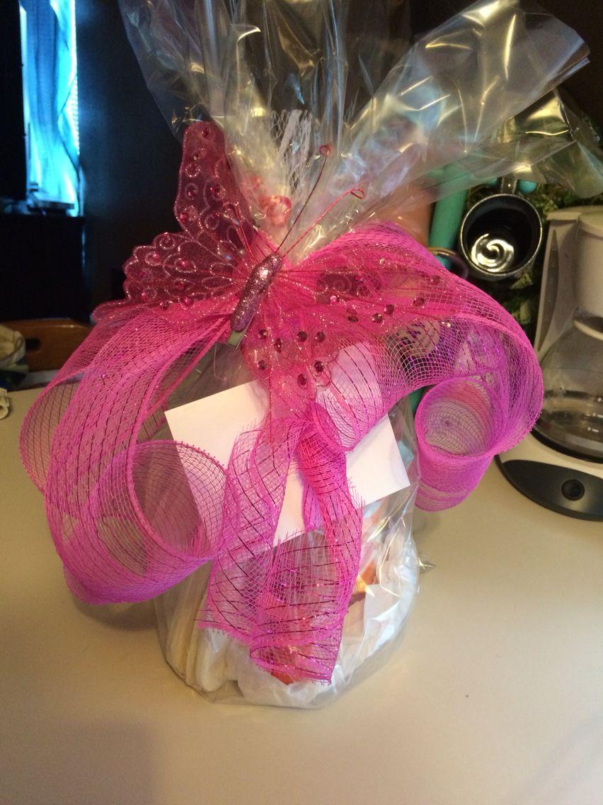Shower gift I made! Mason jar drink dispenser filled with pink ...