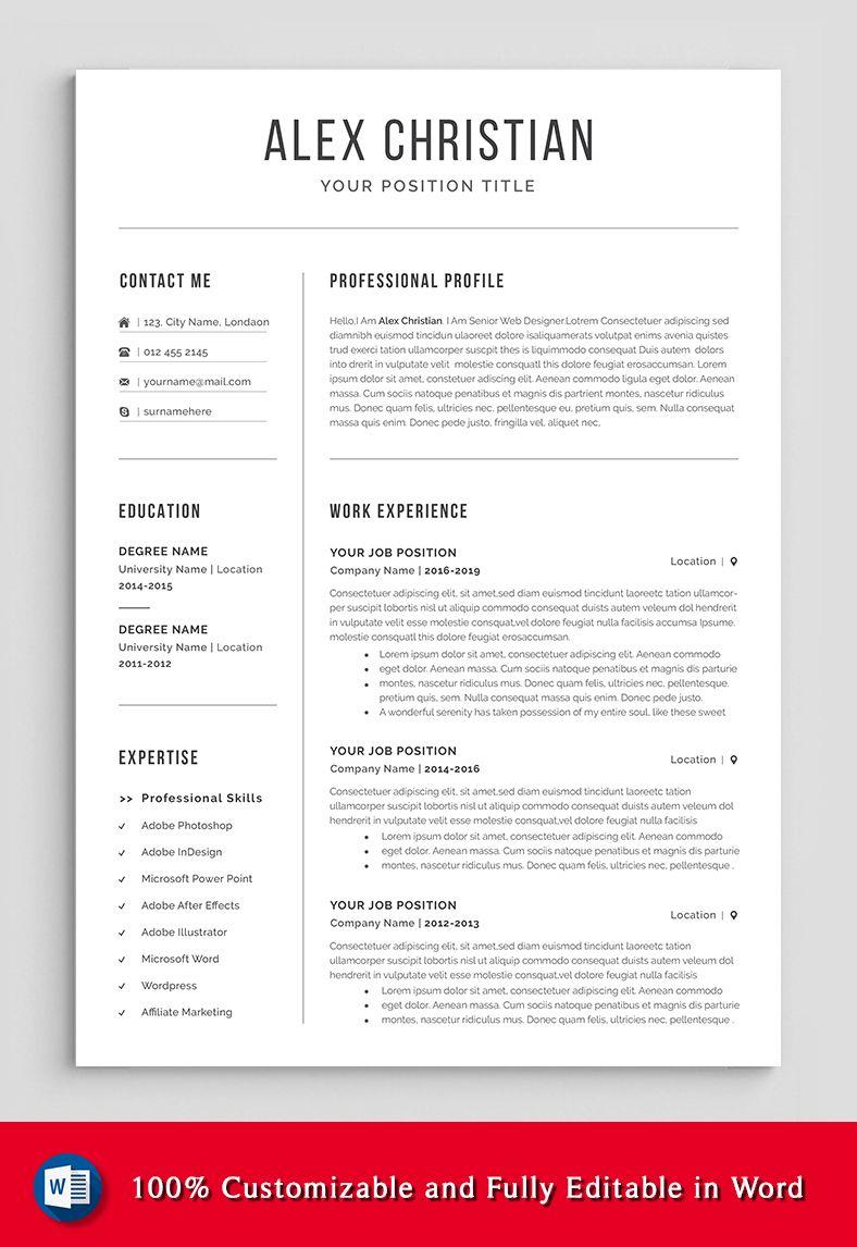 Modern Resume Template Professional Resume Template Resume Etsy Resume Template Professional Resume Words Cover Letter For Resume