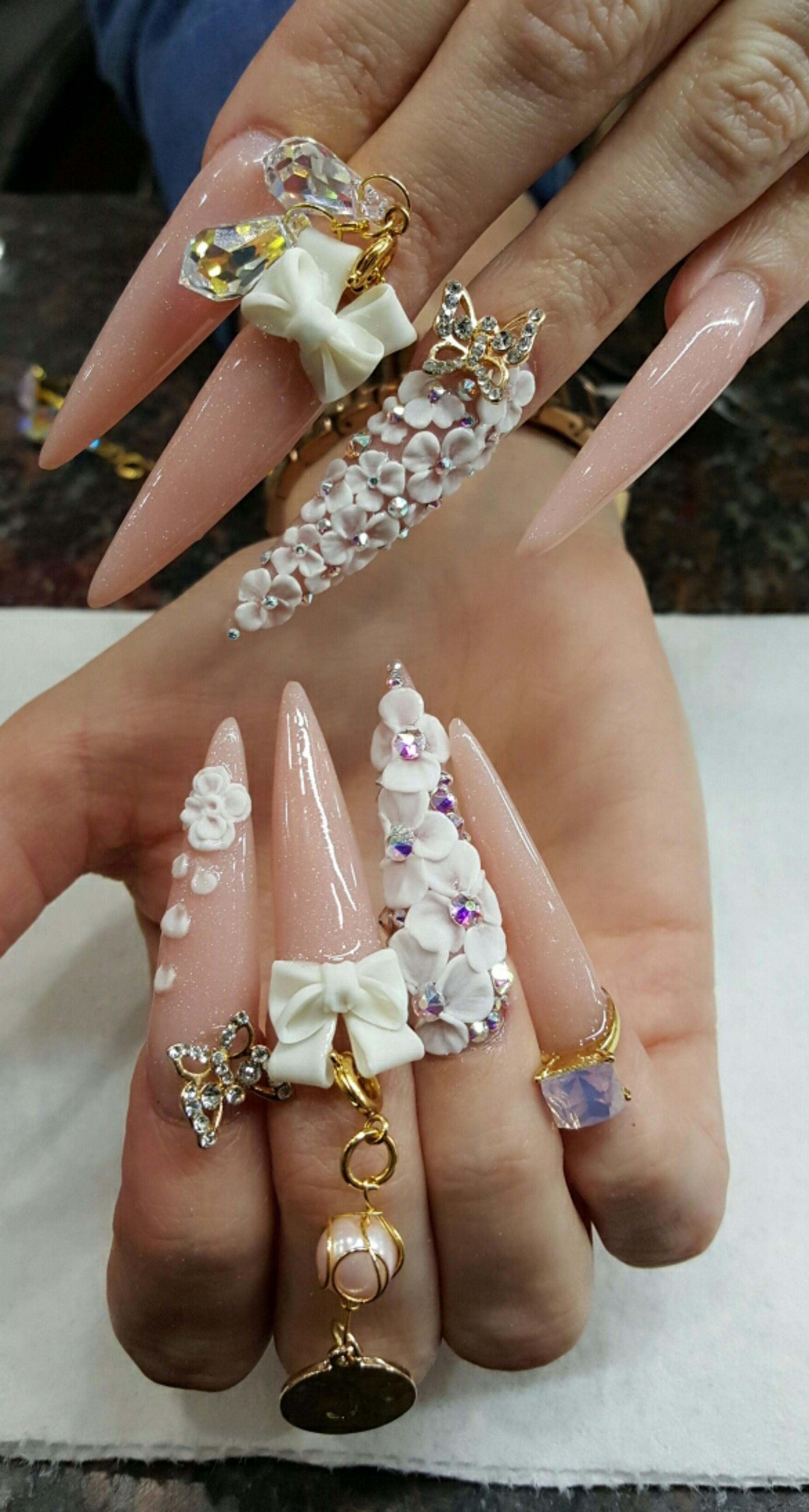 Flowers Diamonds And Bows Oh My Nailpro With Images Long