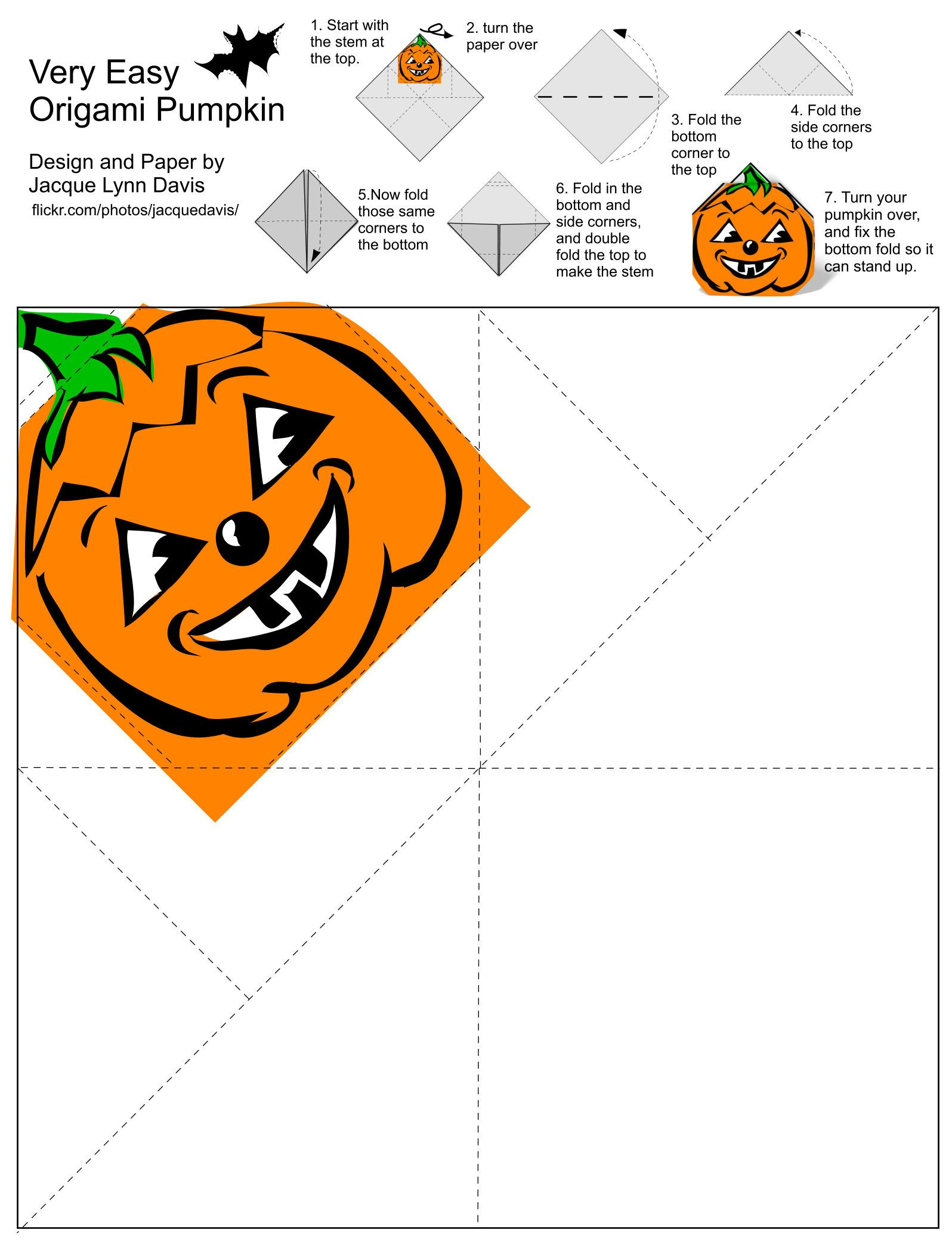 Pin Af Lis Dahl P Halloween Pinterest Origami Og Diagrams Jack Lantern O Faces Pumpkin Coloring Pages