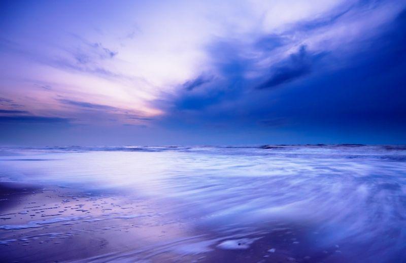 Violet Blue Sky And Smoky Sea Landscapes Wallpaper Mural Purple Wall Art Landscape Wallpaper Landscape Walls