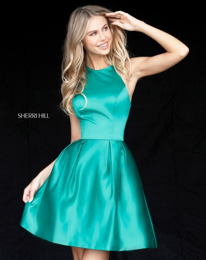 Shop Sherri Hill short satin homecoming dresses at Simply Dresses.  Semi-formal a-line party dresses with side pockets and high-neck halter  tops.