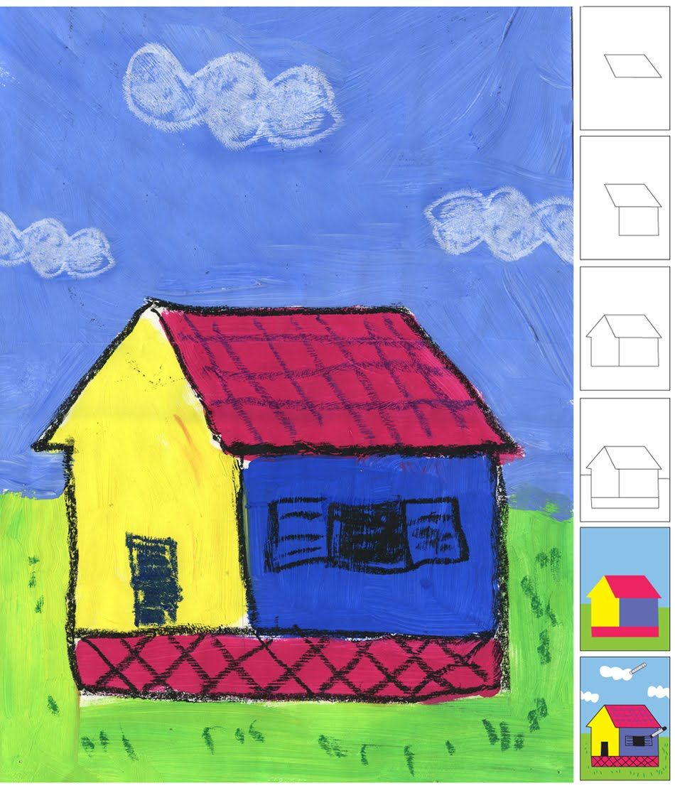 Art projects for kids paint and pastel island house oil for Oil painting for kids
