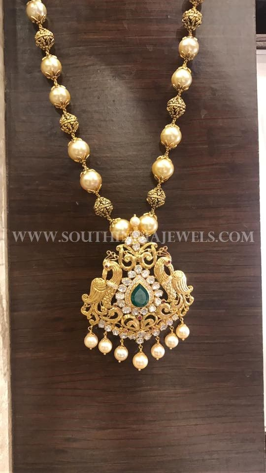 bc648c398 23 Stunning Traditional Pearl Chain Designs | Jewery | Gold pendent ...