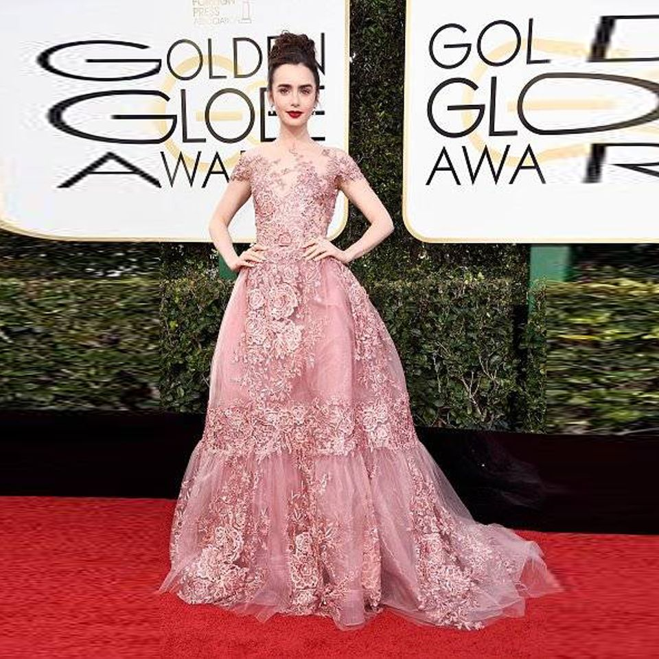 2017 Golden Globe Award Lily Collins Celebrity Dresses Elegant ...