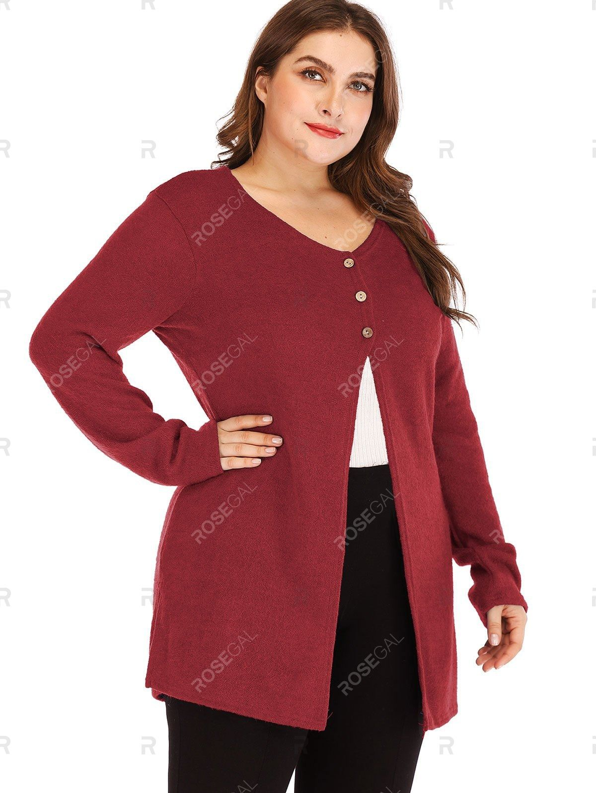 Longline Button Front Side Slit Plus Size Cardigan